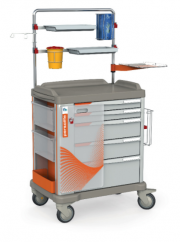 The PERSOLIFE emergency trolley with overbridge by Francehopital with 600 mm drawers
