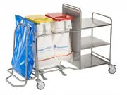 An ISEO line laundry collection trolley coupled with a WASTY waste bag holder and stainless steel shelves by Francehopital