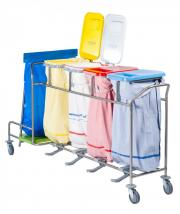 An ISEO line laundry collection trolley coupled with a WASTY waste bag holder by Francehopital