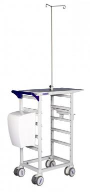 MODUL-iT Open nursing trolley with waste bin and IV-pole