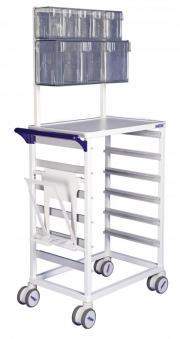 MODUL-iT Open nursing trolley with waste bag holder and tilt bins