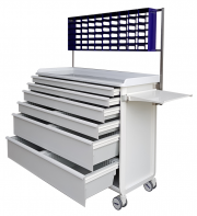 MODU-FLEX cart/trolley with telescopic drawers and mounting structure