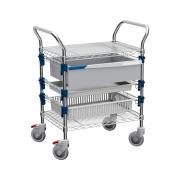 MOSYS-ISO utility cart with 2 shelves and 3 adjustable guides with drawer, tray and basket