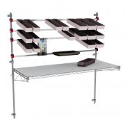 Wall mounted picking station, with bins and accessories on overbridge