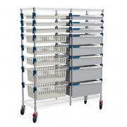 MOSYS-ISO shelving on wheels, double column, front 600 mm with a mix of baskets, trays and drawers