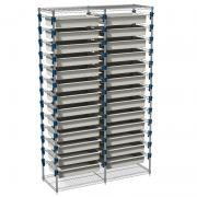MOSYS-ISO shelving without wheels, double column, front 600 mm with trays