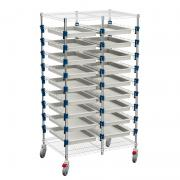 MOSYS-ISO shelving on wheels, double column, front 400 mm with trays.