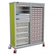 PRECISO TRS180-D double medication cabinet, with bins, baskets, FH-Drawers and 2 rolling shutters