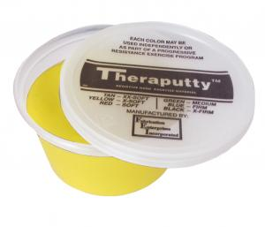 CanDo® Theraputty® hand exercise material is the standard in resistive hand exercise material. Each color-coded putty has a different consistency ranging from xx-soft for strengthening the weakest grasp to extra-firm for developing a stronger grip. Available in convenient easy-to-open plastic containers (2, 3, 4 and 6 ounce) for individual patients to use at home and a choice of larger containers (1 and 5 pound) for the hospital or clinic. CanDo® Theraputty® material is gluten, latex and casein free. 3 oz -