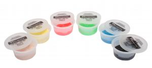 CanDo® Theraputty® hand exercise material is the standard in resistive hand exercise material. Each color-coded putty has a different consistency ranging from xx-soft for strengthening the weakest grasp to extra-firm for developing a stronger grip. Available in convenient easy-to-open plastic containers (2, 3, 4 and 6 ounce) for individual patients to use at home and a choice of larger containers (1 and 5 pound) for the hospital or clinic. CanDo® Theraputty® material is gluten, latex and casein free. 2 oz -