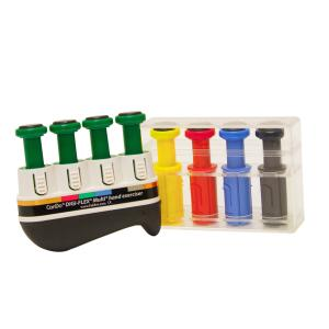 The Progressive Starter Pack includes frame, 4 Green (medium) buttons plus 1 yellow, 1 red, 1 blue, 1 black buttons in box. The Digi-Flex Multi® hand exerciser develops isolated finger strength, flexibility and coordination. Interchangeable finger buttons make the Multi™ a truly versatile exerciser. Use each button independently to exercise fingers or compress the entire unit for complete hand and forearm strengthening. Change resistance for any finger by changing the finger button. Finger buttons snap into