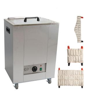 The Relief Pak® Heating Unit 12-Pack Capacity effectively heats moist heat packs up to 170⁰ in an insulated hot water bath. Insulated design keeps heat from dispersing out of the unit, allowing it to retain heat. It is made from durable stainless steel that's perfect for high traffic clinics and its mobile design with rolling feet allow it to be easily moved across a room. This heating unit features adjustable temperature control and a glowing orange light illuminates when the unit has reached its desired t