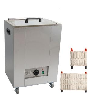 The Relief Pak® Heating Unit 12-Pack Capacity effectively heats moist heat packs up to 170⁰in an insulated hot water bath. Insulated design keeps heat from dispersing out of the unit, allowing it to retain heat. It is made from durable stainless steel that's perfect for high traffic clinics and its mobile design with rolling feet allow it to be easily moved across a room. This heating unit features adjustable temperature control and a glowing orange light illuminates when the unit has reached its desired t