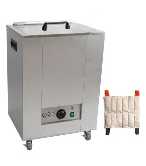The Relief Pak® Heating Unit 12-Pack Capacity effectively heats moist heat packs up to 170? in an insulated hot water bath. Insulated design keeps heat from dispersing out of the unit, allowing it to retain heat. It is made from durable stainless steel that's perfect for high traffic clinics and its mobile design with rolling feet allow it to be easily moved across a room. This heating unit features adjustable temperature control and a glowing orange light illuminates when the unit has reached its desired t
