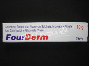 Clobetasol propionate, Neomycin Sulphate, Miconazole Nitrate, Chlorhexidin Gluconate (FourDerm)
