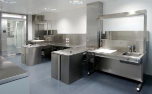 Grossing stations with down-draft air system made of stainless steel