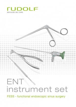 ENT instrument set for FESS (Functional endoscopic sinus surgery) , sinuscopes 2.7 mm and 4 mm , sinus punch sinus ostium seeker , sinuscopy trocar , septum needle , nasal speculum , nasal forceps , nasal cutting forceps