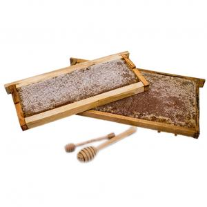 Raw Honeycomb is a true delicacy of nature. The hexagonal cells that create the comb are made by bees from beeswax.