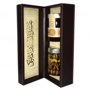 Pure Sider Emirates Honey plus Sider Emirates Honey Nuts. It is placed in an innovative carefully crafted luxurious leather box for gift.