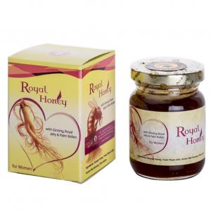 honey extract from bees royal jelly, palms pollen, sage extract, lavender extract. Royal honey for women is a new product contains most elements that benefit those cases directly and effectively, and this helps to: - Control women hormones, especially those on menopausal stage - Reduces perspiration and hot blows suffered by women - Regulate monthly blood circulation (period) when it starts. - It improves the mood during the monthly period. - Cleans womb and protect from inflammation and activate ovaries. -
