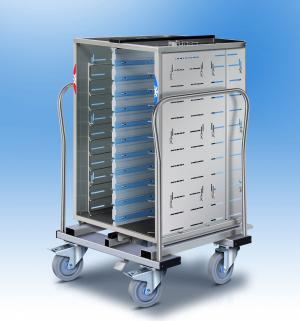 Distribution of meal trays : COMPACTSERV V2 tray trolley - breakfast tray trolley