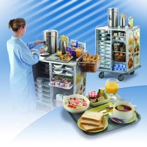 Breakfast tray trolley : Servizio, hospital food trolley and trays for breakfast