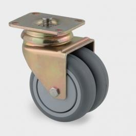 Swivel Castors with central-, total lock, AGILA TWIN 2976PJH075P54, Castors for Inflight Trolleys | TENTE USA