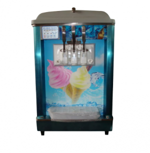 DOUBLE BARREL TABLE MODEL SOFT SERVE MACHINE WITH REFRIGERATED HOPPER	- SSM1001