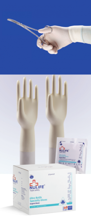 Beadless Gloves, Powder Free Latex Beadless Surgical Gloves from Nulife