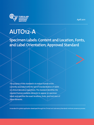 AUTO12A: Specimen Labels: Content and Label Orientation
