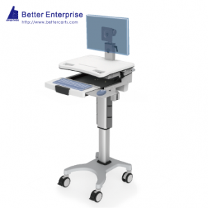 Height Adjustable Mobile Computer Cart (Hand Lever), Height Adjustable Mobile Computer Cart (Hand Lever) Manufacturer | BETTER