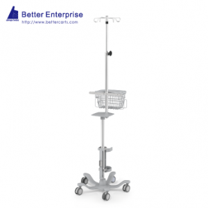 Ventilator Cart with Vertical Humidifier Mounting System and Telescopic IV Pole, Ventilator Cart with Vertical Humidifier Mounting System and Telescopic IV Pole Manufacturer | BETTER
