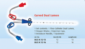 Dialysis Catheter Curved Dual Lumen