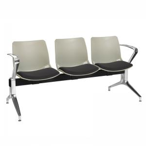 Neptune Visitor 3 Seat Module with 3 Black Intervene Material Upholstered Seat Pads [Sun-SEAT73/3/IV/BLACK]