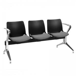 Neptune Visitor 3 Seat Module with 3 Grey Intervene Material Upholstered Seat Pads [Sun-SEAT73/3/IV/GREY]