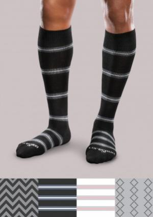 Moderate Support Socks - Patterned Core Spun - Men's | Compression Support Hose