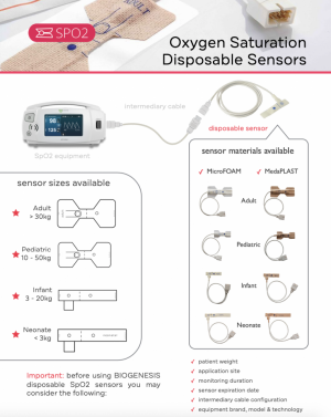 The SpO2 disposable sensors can be: ADULT FOAM, ADULT PLAST, PEDIATRIC FOAM, PEDIATRIC PLAST, INFANT FOAM, INFANT PLAST, NEONATE FOAM, NEONATE PLAST, ADULT/NEO FOAM, ADULT/NEO PLAST.