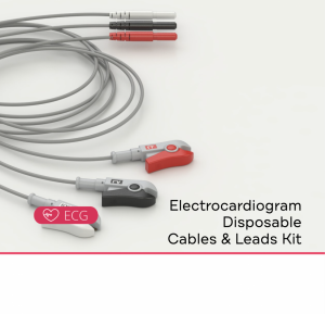ECG Compatible Disposable Leads Kit can be: 3 LEADS DIN, 5 LEADS DIN, 3 LEADS DOUBLE, or 5 LEADS DOUBLE.