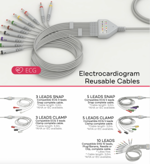 ECG - EKG Cables can be: 3 LEADS SNAP, 3 LEADS CLAMP, 5 LEADS SNAP, 5 LEADS CLAMP, 6 LEADS SNAP, 6 LEADS CLAMP, 10 LEADS SNAP, 10 LEADS CLAMP, 10 LEADS NEEDLE, or 10 LEADS PLUG.