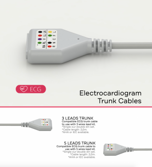 ECG - EKG Trunk Cables can be: 3 DIN LEADS, 5 DIN LEADS, 10 DIN LEADS, 3 DOUBLE LEADS, 5 DOUBLE LEADS, or 10 DOUBLE LEADS. AHA or IEC.