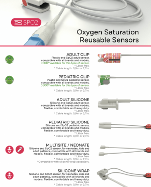 The SpO2 reusable sensors can be: ADULT CLIP, PEDIATRIC CLIP, ADULT SILICONE, PEDIATRIC SILICONE, SILICONE WRAP and MULTISITE / NEONATE.