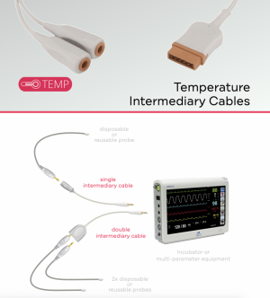 All available with 1,5m cable length, to connect directly on the machineand use with reusable or disposableprobes.
