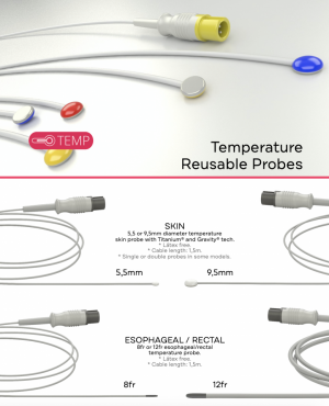 The Temperature Compatible Reusable Probes can be: 9,5mm SKIN, 5,5mm SKIN, 8fr ESOPHAGEAL - RECTAL, 12fr ESOPHAGEAL - RECTAL, AIR, DUAL AIR, or TIMPANIC.
