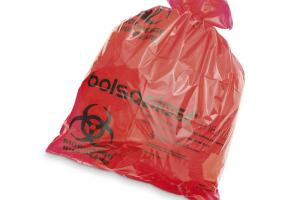 Bag for biohazard products in red polypropylene