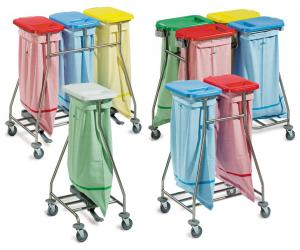 A group of ISEO line laundry collection trolleys by Francehopital