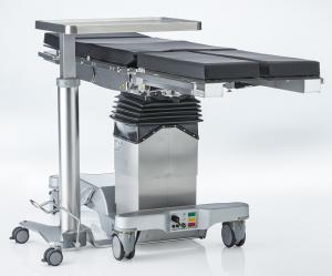 Space-saving instrument serving table with flattened chassis