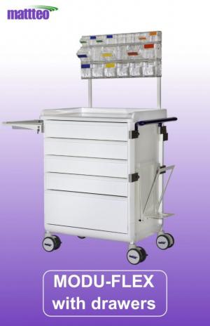 MODU-FLEX modular cart/trolley with telescopic drawers and working top