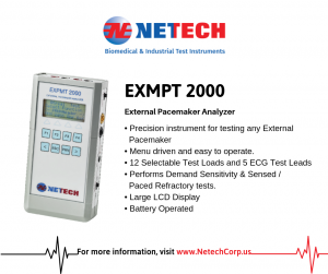 The EXPMT 2000 is a comprehensive device that meticulously verifies all functions of any external pacemaker.
