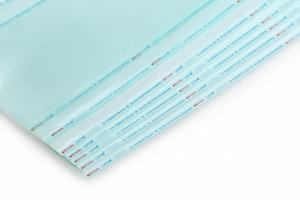 MEDICAL GRADE PAPER REEL, HEAT & SELF SEALING 3 SIDE SEALED CHEVRON HEAD POUCHES