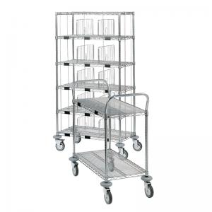 A MOSYS shelving on wheels and a MOSYS service trolley